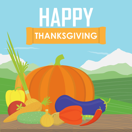 Very happy Thanksgiving on wood with field background