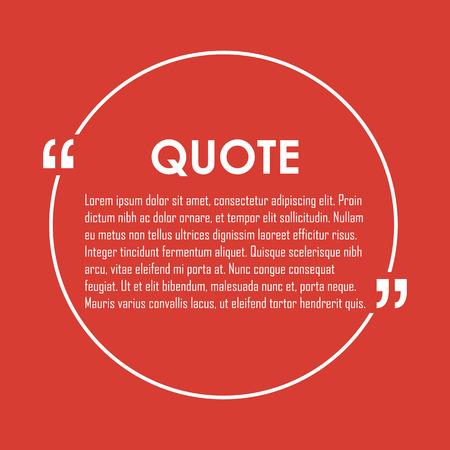 citation: Quote text bubble. Commas, note, message and comment. Design element similar to quote. Text, commas, quote and note. Motivation quote vector. Quote element design. Sport quote citation. Quote template Illustration