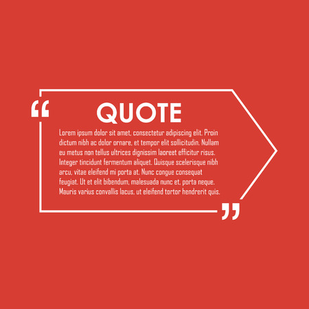 citation: Quote text bubble. Commas, note, message and comment. Design element similar to quote. Text, commas, quote and note. Motivation quote vector. Quote element design. Sport quote citation. Quote template Illustration