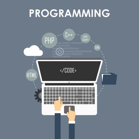 프로그래밍과 코딩, 웹 사이트 개발, 웹 디자인. 평면 벡터 일러스트 레이 션 일러스트