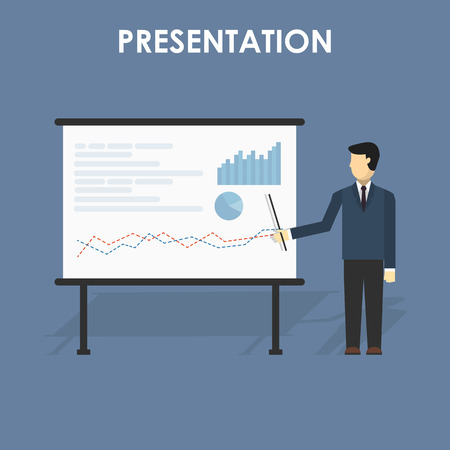 presentation people: businessman presenting, white billboard with empty space. Presentation screen.