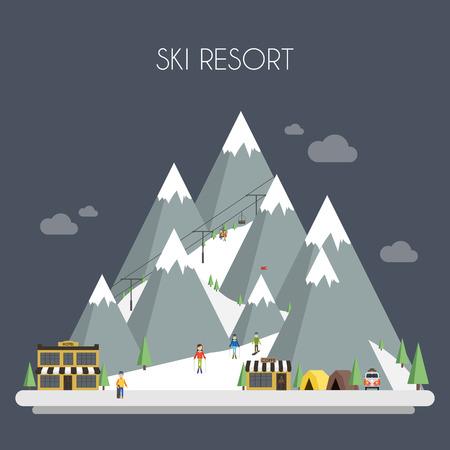 skis: Ski Resort. Mountain landscapes. Vector flat illustrations