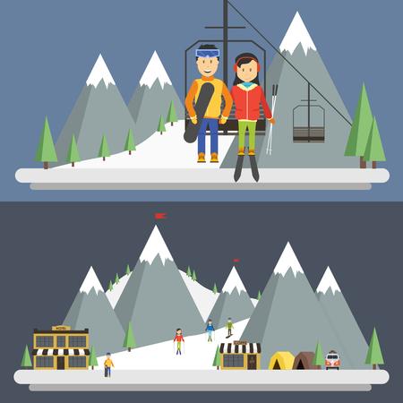 patinaje sobre hielo: Estación de esquí en las montañas, invierno, día