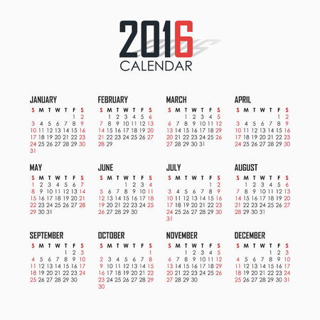 months of the year: Calendar for 2016 on white background. Vector EPS10.