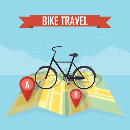 Vector illustration traveler with bicycle on map background Stock Illustratie
