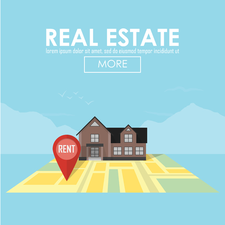 sold small: Real estate concept with house for sale and rent symbols vector illustration