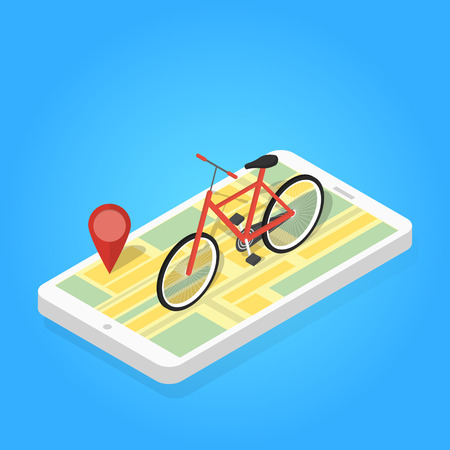 Isometric illustration of phone map bicycle. Marker position Vettoriali