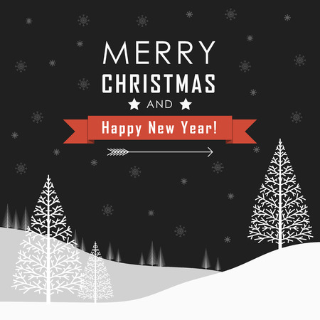 season's greeting: Merry Christmas and Happy New Year Landscape. Vector Illustration
