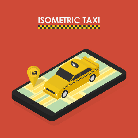 yellow taxi: Flat 3d isometric concept of mobile app for booking taxi
