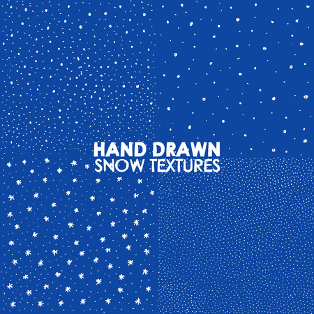snowfall: Falling snow vector seamless pattern. White splash on blue background. Winter snowfall hand drawn spray texture. Illustration