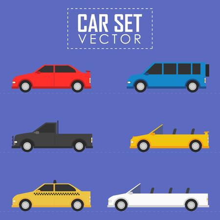 drive car: Car concept vector flat illustration set automobile Illustration
