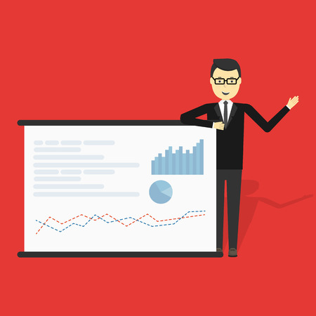 market share: Cartoon businessman showing market share graph on billboard and presenting and advertising on its vector illustration. Illustration