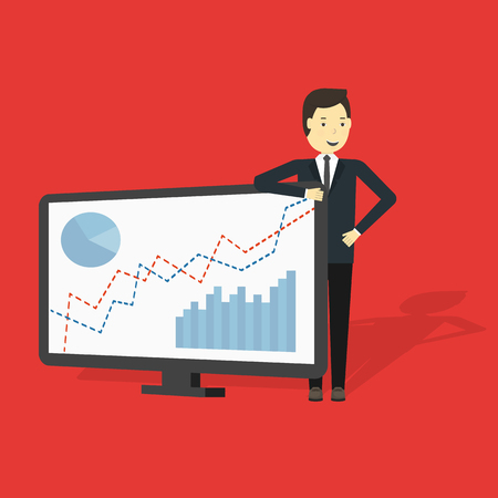 Businessman Presenting Business Growth Chart vector illustration