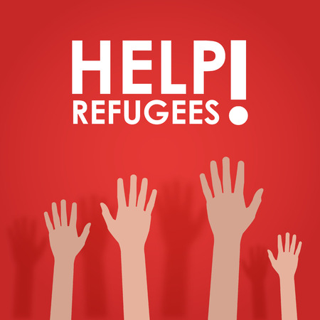 need help: Refugees need help. Hends in red vector