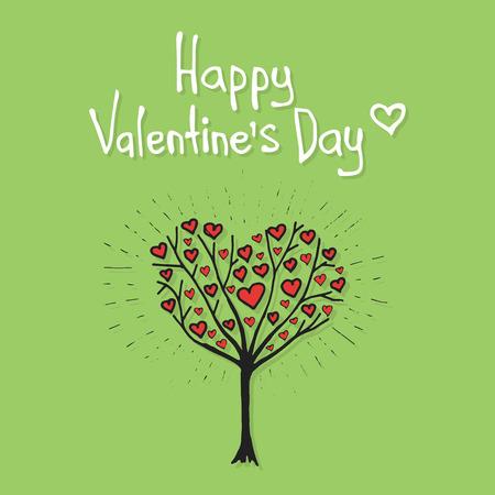 valentine tree: Valentine tree with hearts hand drawn illustration Illustration