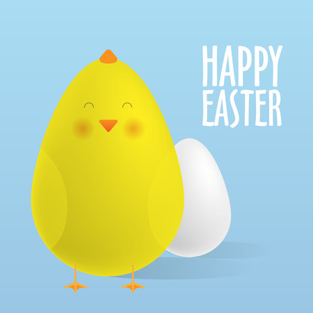 cartoon egg: Greeting Card, Happy Easter. Easter egg and a cute chick. Realistic vector illustrations