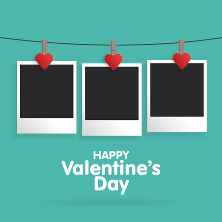 Postcard Happy Valentines Day with a blank template for photo.  Vector illustration