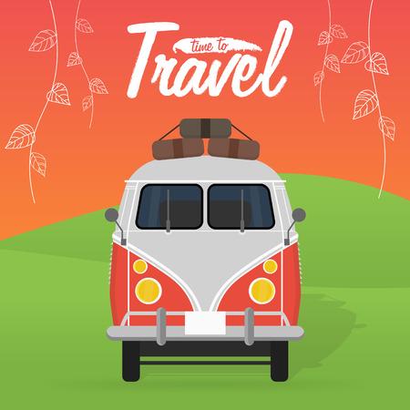 volkswagen: Camper van. Summer vacation. Vector illustration. Time to travel Illustration