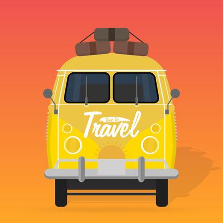 woodstock: Camper van. Summer vacation. Vector illustration. Illustration