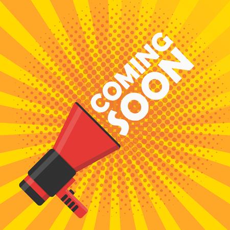 Coming soon vector illustration banner. Announcement megaphone