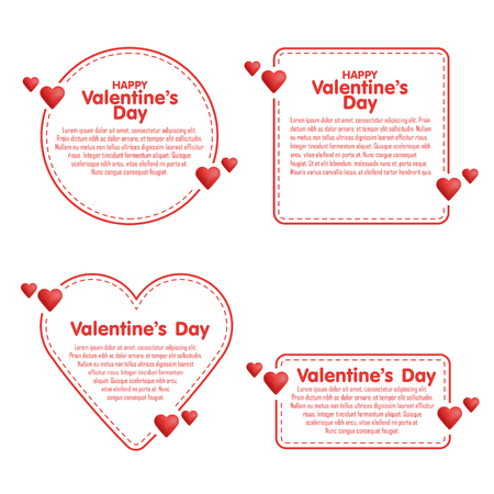 love notes: Set of quote dashed line boxes. Doodle style. Valentines day vector illustration