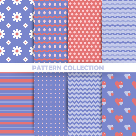 green day baby blue background: Set of seamless patterns in retro style for the spring holidays, Easter, birthdays and other