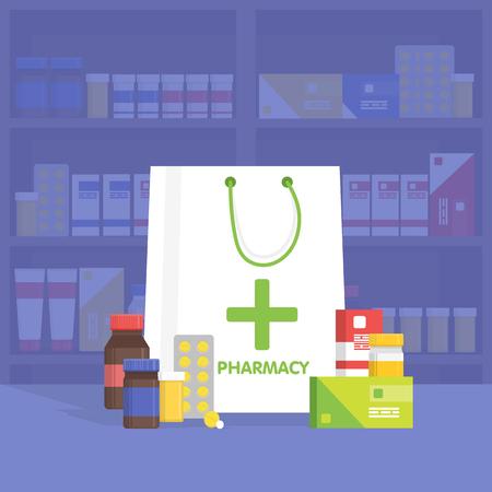 recetas medicas: entre farmacia y droguería moderna. Venta de vitaminas y medicamentos. Ilustración vectorial simple. Vectores