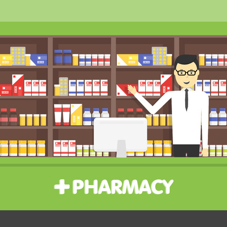 drugs pills: Young  pharmacy chemist man standing in drugstore.  Vector flat design illustrations.