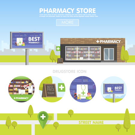 Facade of pharmacy in the urban space, the sale of drugs and pills. Billboard advertising from pharmacies. Template concept for the website, advertising and sales. Stock Illustratie
