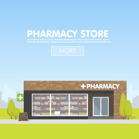 도시 공간에서 약국의 외관, 마약 및 환 약의 판매. 웹 사이트, 광고 및 판매를위한 템플릿 개념입니다.