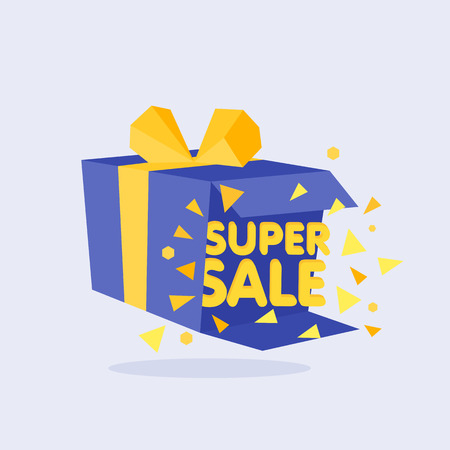 blue gift box: Open Blue Gift Box and Confetti. Sale Background. Illustration.