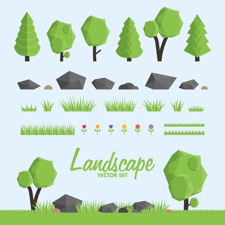 Iconos del constructor paisaje. Árboles, elementos de piedra y de la hierba para el diseño del paisaje. Bajo poli ilustración vectorial conjunto Foto de archivo - 54713348