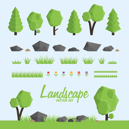 Iconos del constructor paisaje. Árboles, elementos de piedra y de la hierba para el diseño del paisaje. Bajo poli ilustración vectorial conjunto