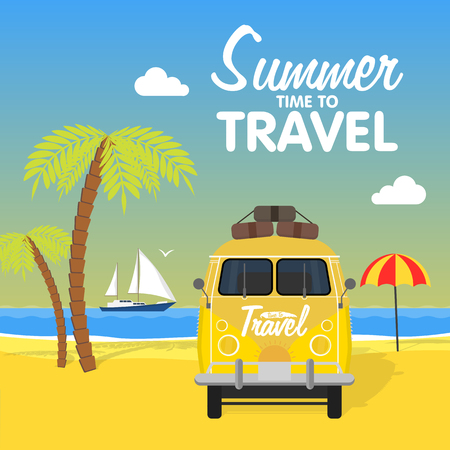 omnibus: Summer beach camping island landscape with surfing bus, seaview, sand and sun. Travel omnibus family summertime holidays. Vacation poster concept. Surf camp, rv travel in flat design