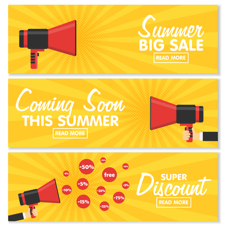 procent: Set of banners for your website design. Announcement megaphone on vintage pop art background. Sales, discounts and other Components.