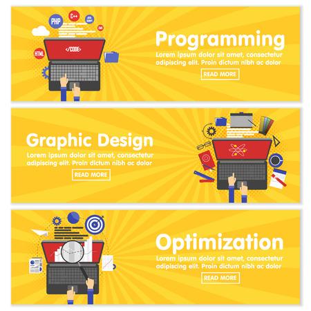 Web design programming SEO concept flat web banners template set vector illustration website infographics elements. Process webdesign mockup program code php html javascript cms search optimization.  イラスト・ベクター素材