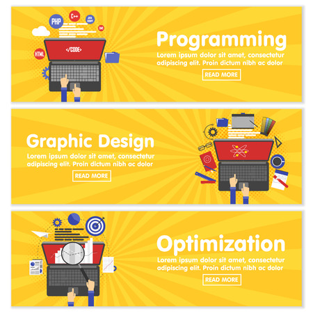 Web design programming SEO concept flat web banners template set vector illustration website infographics elements. Process webdesign mockup program code php html javascript cms search optimization. Иллюстрация