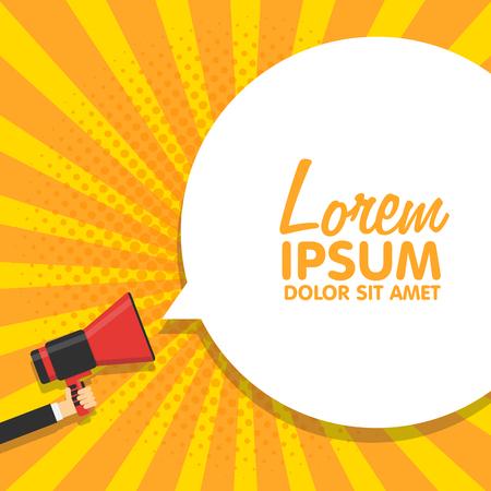 Sprechblasen von Megafon, Illustration Pop-Art-Weinlese bacground angekündigt