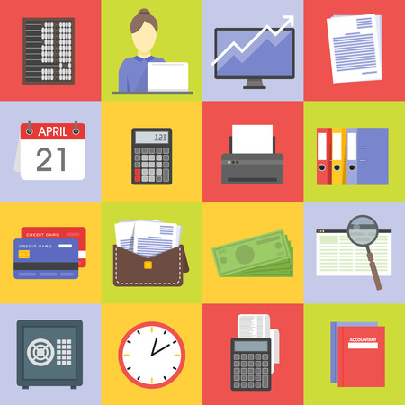 contabilidad financiera cuentas: Modern design vector illustration flat icon set of financial service items, business management symbol, banking accounting and money objects.