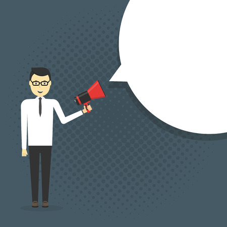 announcing: Business man shouting in a megaphone. Man announcing through loudspeaker advertising. Announcing promotion and banners concept. illustration in a flat design style