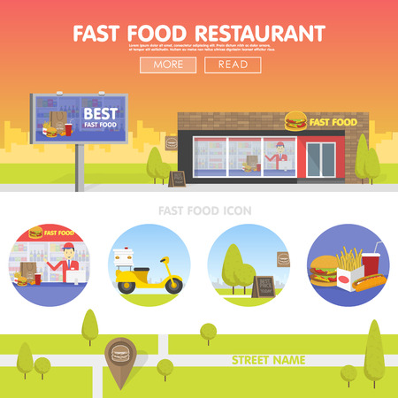 storefront: Storefront restaurant selling fast food. The template for the site, banners and advertising. Concept cartoon illustration