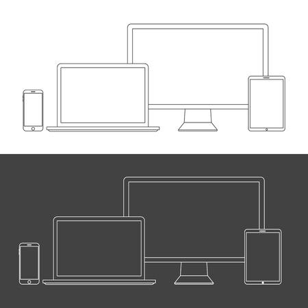 electronic background: Electronic Devices Screens isolated on white background. Desktop computer, laptop, tablet and mobile phones with transparency.