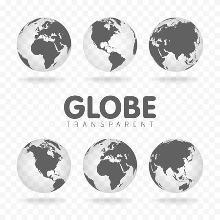 Illustration of gray globe icons with different continents. Ilustracja