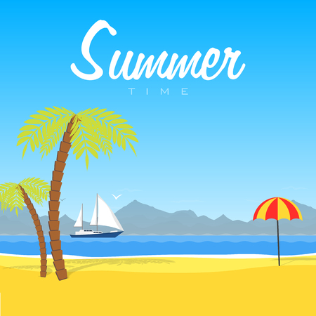 coastal: illustration of the tropical. Summer time. Relax on the beach. Landscape of sea and mountains
