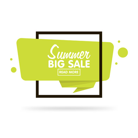 Summer sale concept. Origami style sticker and banner tamplate. Isolated on white background. Blank for your text, Web site and projects.