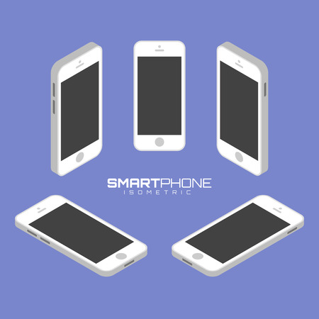 sides: White Mobile phone from four sides icon set graphic illustration. Isometric view of the front, back, right, left and top.