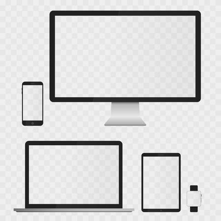 Dispositivos electrónicos Pantallas aislados sobre fondo blanco. ordenador de sobremesa, portátiles, tabletas y teléfonos móviles con transparencia. Ilustración de vector
