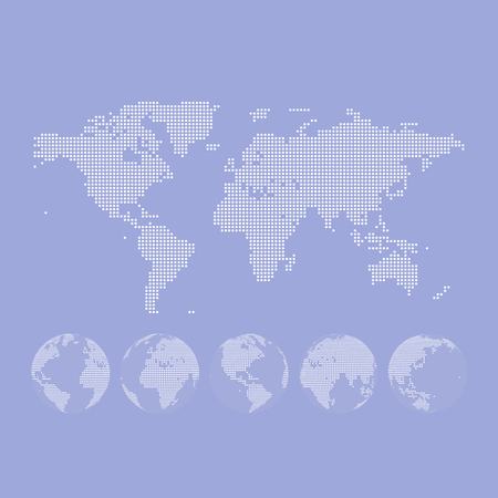 globus: dotted Map and Globe of the World. Illustration