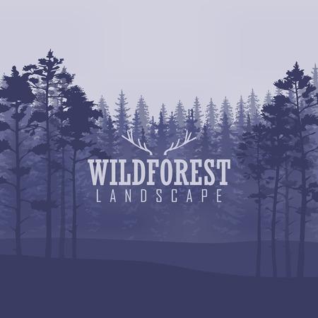 coniferous forest: Fondo del bosque de coníferas salvaje. pino, paisaje de la naturaleza, madera panorama natural. Plantilla de diseño de campaña al aire libre.