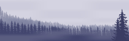 Horizontal abstract banners of hills of coniferous wood in dark blue tone.
